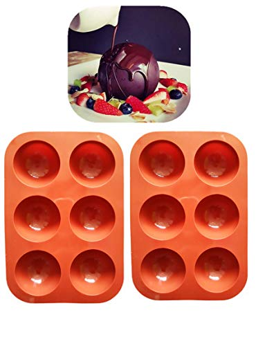 Small 195 inch Shiny Thick 6 Small Half Circle Holes Silicone Molds For Baking Chocolate dessert round moldSet of 2