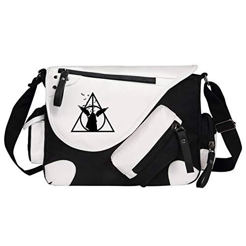 Bolso bandolera de lona para niños y niñas Harry Potter Deathly Hallows Messenger Bag Medium Black-D
