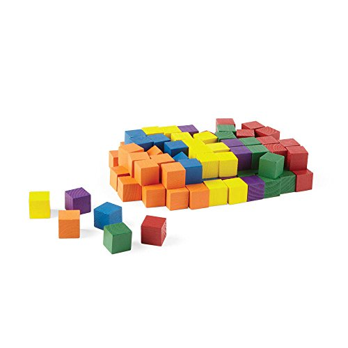 hand2mind Wooden Block Set 1 Inch Building Blocks Rainbow Colored Stackable Educational Toy for Learning Patterns amp Early Math Skills Pack of 100 Model:9505X