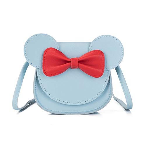 Zxebhsm Portefeuille 2020 Girl Purse Sac à Main Sac à Main pour Enfants Petite pièce Boîte de Monnaie Cute Mouse Bow Kid Kid Sac à bandoulière Baby Rabbit Sac à bandoulière (Farbe : Blue)