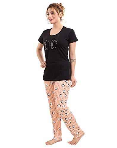 South India SHOPPING MALL Nice Choice Black Graphic Printed Pyjama Set