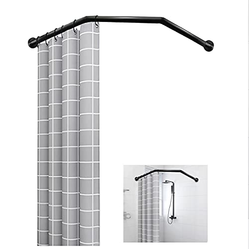 EEUK Curved Shower Rod, Adjustable Diamond Shaped Shower Curtain Rail Pole Wall Mounted Extendable Corner Shower Curtain Rod, 304 Stainless Steel, For Bathroom