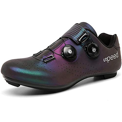 KUXUAN Zapatillas De Ciclismo,Calzado De Bicicleta De Carretera Carreras para Hombre,Calzado De Turismo Antideslizante con Rayas Reflectantes,Black-UK5.5=EU39(245mm)