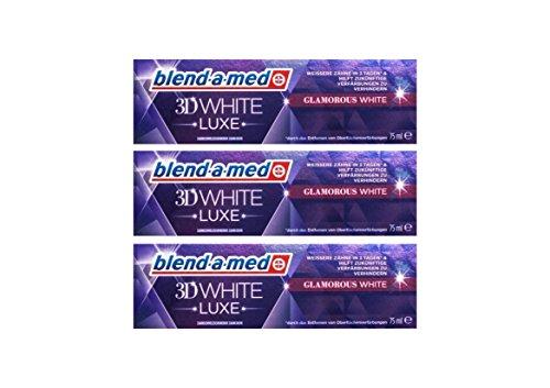 3x blend-a-med 3DWhite Luxe Glamorous WHITE Zahnpasta 75 ml