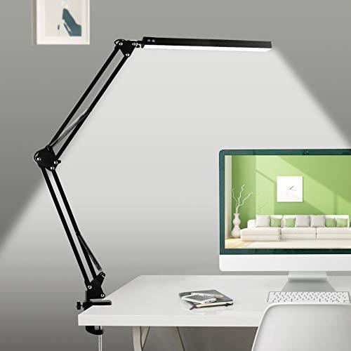 Lámpara de Escritorio LED Lámpara de Trabajo de Arquitecto Lámpara de Lectura 3 Modos de Color 10 Niveles de Brillo Ajustable Luz Escritorio con Abrazadera para Lectura Trabajo Oficina