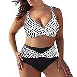 Rawdah-- Donne Taglie Forti Costume da Bagno Plus Size Donna Due Pezzi Ragazza Brasiliana Imbottito Reggiseno Spiaggia Costumi da Bagno Vita Alta Donna Bikini Due Pezzi Mare Push up (Bianco(8013), S)