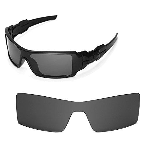Walleva Replacement Lenses for Oakley Oil Rig Sunglasses - Multiple Options (Black - Polarized)