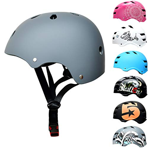Skullcap Grauer BMX Helm - Skaterhelm - Fahrradhelm - Herren Damen Jungs & Kinderhelm, Grau just Grey S (53 - 55 cm)