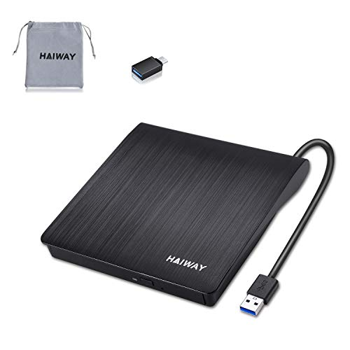 HAIWAY External CD/DVD Drive for Laptop, Type C...