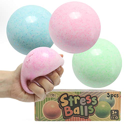 3 Pack Stress Ball, Fidget Sensory Toy for Kids, Teens and Adults for Anxiety Relief, Cool Soft Squeeze Ball, Relaxing and Calming Desk Toy for Office and School, Fun Autism Toy for ADHD and OCD