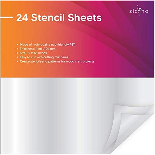 "Easy Cut Stencil Sheet Set of 24 - 12""x12"" Acetate Mylar for Cricut Vinyl..."