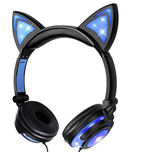 Katze Ohr Kopfhörer mit LED Glowing/Blinken,Faltbarer Wiederaufladbare Wired Headset für Mädchen,Kinder, kompatibel für Notebook PC, Smartphone,MP3 (Blau)