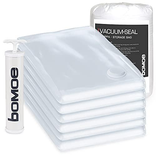 bomoe Vakuumbeutel für Kleidung - Vakuumier Set 6tlg. in 60x80cm + Pumpe - Vakuumierbeutel Kleideraufbewahrung & Organisation - Kleidersack Vakuum Tüte wiederverwendbar - Knippa