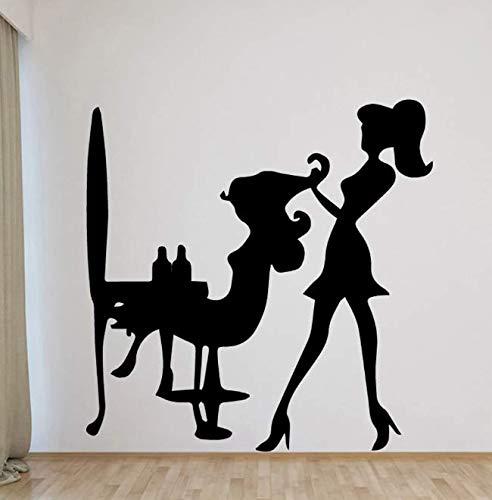 Calcomanías de pared divertidas para salón de peluquería, póster de arte mural para decoración de habitación de niños, calcomanía artística de vinilo, pegatina de pared 57 * 57Cm