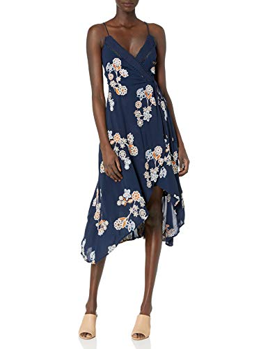 JOA Women's Wrap Style Floral Print Embroidered Maxi Dress, Navy Multi, Medium