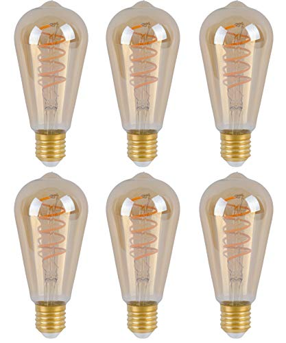SD LUX Edison Glühbirne E27 Fassung, Dimmbar, 6W, 2200K, Warmweiß, 230V, ST64 Amber glas, Antike Filament Beleuchtung im Retro Vintage Look