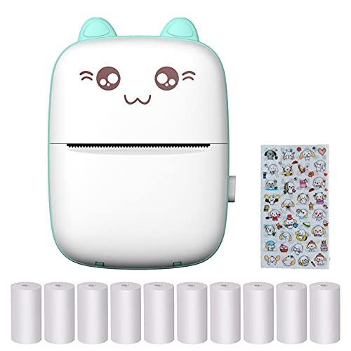 Imprimante Photo Portable, Mini Imprimante Photo Instantané sans Fil BT, avec 10 Rouleaux de Papier Thermique, pour Photo Étiquettes Memo
