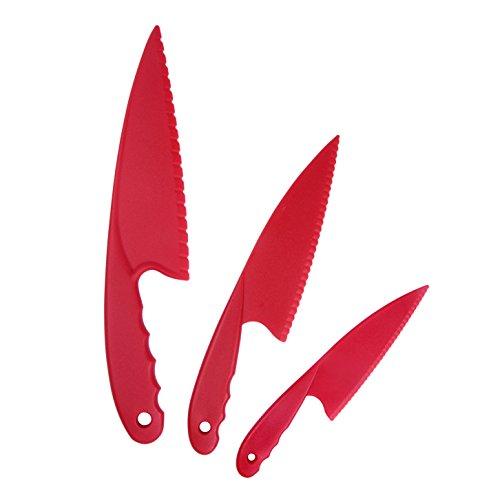 GarMills Juego de 3 Cuchillos de Cocina de Plástico Rojo para Niños, Cuchillos de Cocina de Nylon Seguros para Niños, para Ensaladas de Lechuga o Tartas