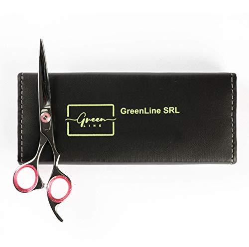 Tijeras de peluquería con mango offset de color plateado (6,5 pulg.) para cortar el pelo, para manualidades, casa/barbería.