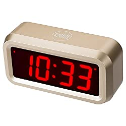 Timegyro Digital Alarm Clock Battery Operated with 1.2 Large Display for Bedroom, Heavy Sleepers(Gold)