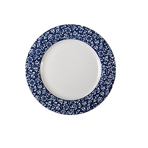JSJJAHN Plato de Cena Tonero Azul clásico Europeo China vajilla de vajilla de la Placa de Servicio (Color : D 9 Inch)