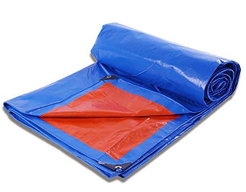 Tarpaulin-CZY afdekzeil voor buiten, heavy duty perenning camping, waterdicht, zonwering, regenbestendig, slijtvast, vloerbedekking, tuinwerk 2mx15m blauw/oranje.