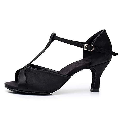 YKXLM Women's Black Latin Dance Shoes Ballroom Performance Shoes,Model 808F-7,7 B(M) US