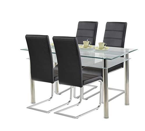 agionda ® Essgruppe Esstisch Kay Jake 140 x 80 Stuhlset Jan Piet ® 4er Satz mit hochwertigem PU Kunstleder in schwarz