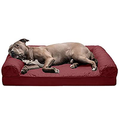 Furhaven Pet Dog Bed | Orthopedic Quilted Traditional Sofa-Style Living Room Couch Pet Bed w/ Removable Cover for Dogs & Cats, Wine Red, Large