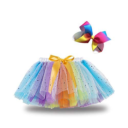 Geagodelia Gonna tutu da bambina in tulle, arcobaleno, arcobaleno, 4-6 Anni