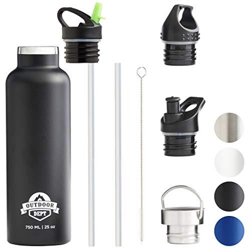 OUTDOOR DEPT Isolierte Edelstahl Trinkflasche 750 ML 4 Deckel BPA frei Trinkflasche aus Edelstahl für kohlensäurehaltige Getränke geeignet. Thermo Trinkflasche für Sport und Alltag geeignet.