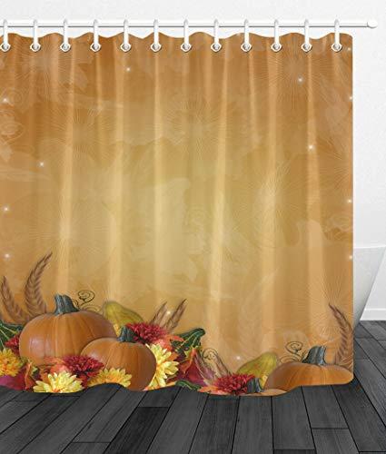 Thanksgiving-Herbst-Kürbis Duschvorhang für Badezimmer,wasserdichtes & schnelltrocknendes Polyester,hochauflösendes Muster,12Haken,180X180cm,Heimtextilien
