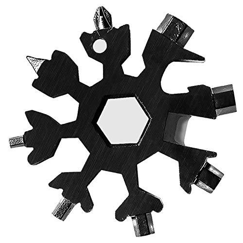 Edelstahl Schneeflocke Multifunktionswerkzeug, 18-in-1 Schneeflocke Multi-Tool Karte, Fahrrad Multifunktionswerkzeug tragbare Schraubendreher Flaschenöffner Ringschlüssel für Outdoor (Black)