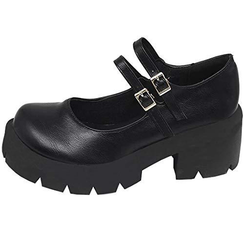 Etebella Damen Mary Jane Gothic Plateau Pumps mit Riemchen und Blockabsatz Vintage Round Toe School Shoes (Schwarz Pu,38)