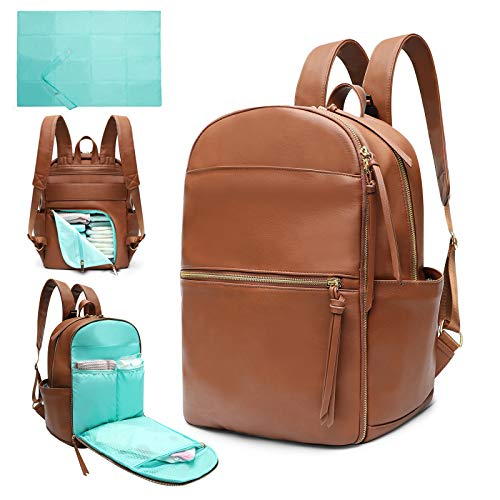 Diaper Bag Backpack Mominside Leather Diaper Bag for Mom and Dad Baby Bag for Boys and Girls with Insulated Pocket, Changing Pad, Stroller Straps, Large Capacity for Wet Clothes(Brown)