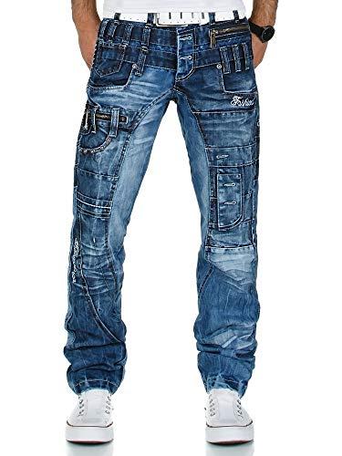 Kosmo Lupo K&M 020 Designer Herren Jeans Hose Clubwear Style Blau Verwaschen Multi Pocket W29-W38 / L32-L34, Größe:W32 / L32