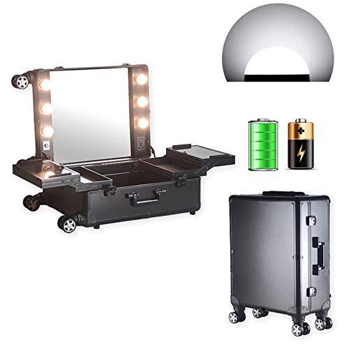 21 pouces Rechargeable Chariot Aluminium Maquillage Cas Avec Miroir Lumières Ampoules Plateaux pour En Voyageant et Maquillage Artiste Sans fil Utilisation,Warmlight