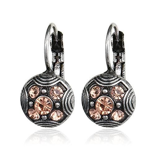 Clip de diamantes de imitación rosa tallado Vintage de moda antiguo étnico en los pendientes para mujer regalo de joyería de declaración