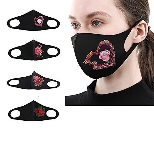 4 paquetes de kit de pintura de diamante para adultos, máscaras faciales de diamante 5D, decoración para mujeres, algodón transpirable, cara de rosa, bordado de flores de rosas máscaras faciales