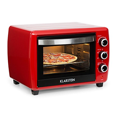 KLARSTEIN Omnichef 30 2G Mini Oven - 1500 W, 30 Litres, 5 Cooking Functions, 3 Rotary Switches, Timer, 100° to 230° C, Particularly Effective Convection Mode, Easy Operation, Red
