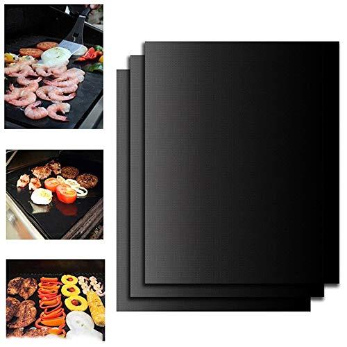 barbecue elettrico nero AMACOAM Tappetino Barbecue BBQ Grill Mat Set di 3 Tappetini da Barbecue Antiaderenti Riutilizzabili Resistenti a Temperatura Alta Adatti per Griglia a Gas Carbone Forno e Griglia Elettrica 40 x 33 cm