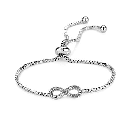 Philip Jones Silver Infinity Friendship Bracelet Created with Austrian Crystals