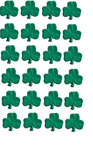 Oasis Supply, Edible Fun Shapes   Sugar Hand Painted Cake, Cupcake Toppers St. Patrick's Day Decorations - .75' Shamrock Charms