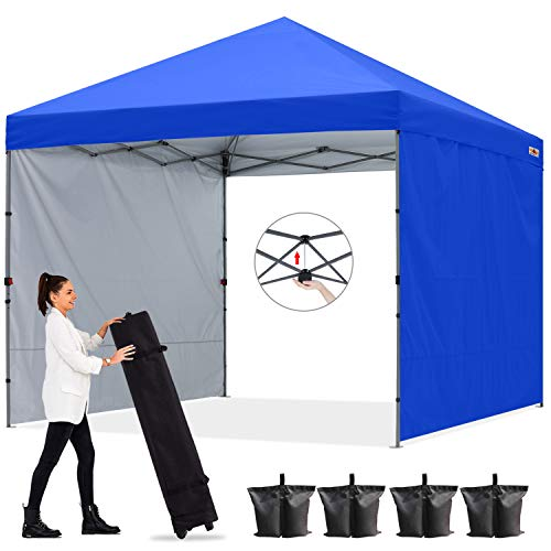 ABCCANOPY Outdoor Easy Pop up Canopy Tent with 2 Sun Wall 10x10 Central Lock-Series, Royal Blue