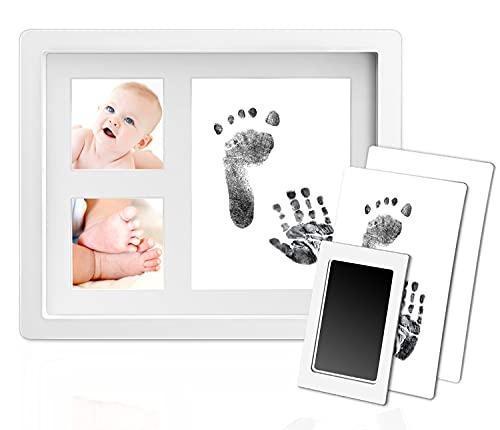"""Norjews Baby Handabdruck und Fußabdruck, Baby Holz Bilderrahmen mit 2 x\""""Clean Touch\"""" Stempelkissen & 2 x Druckkarten, Fotoalbum Set Baby Geschenk für Neugeborene Babyparty"""