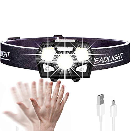 Linterna frontal de 7000 lúmenes con sensor de movimiento, faro LED ultrabrillante, faro potente, USB, recargable, resistente al agua