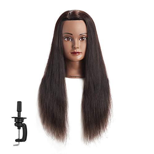 Traininghead 24-26   Female Mannequin Head 100% Human Hair Hairdresser Training Practice Head Cosmetology Manikin Head Doll Head with Stand (1711-1-20'')