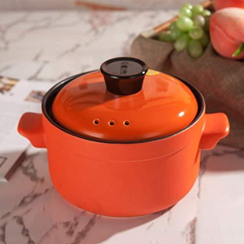 Hitzebeständiger Keramiktopf runder Topf mit Deckel Topf Keramiktöpfe Tontopf Tontopf heißer Topf Slow Cooker Crockpot für Suppe Orange 5,5 l, Medizineintopf Suppentopf