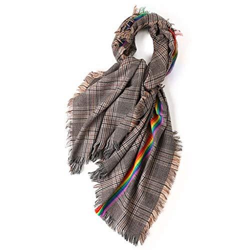 SUFLANG Klassische Karierte Schal Regenbogen-Schal Damen Schal Großer Thick Schal Herbst und Winter Kaltes Wetter Warm Geschenk