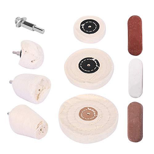 10 almohadillas para pulir, disco abrillantador para taladro, pulidora y atornillador a batería, para pulir llantas, para manicura de aluminio y acero cromado